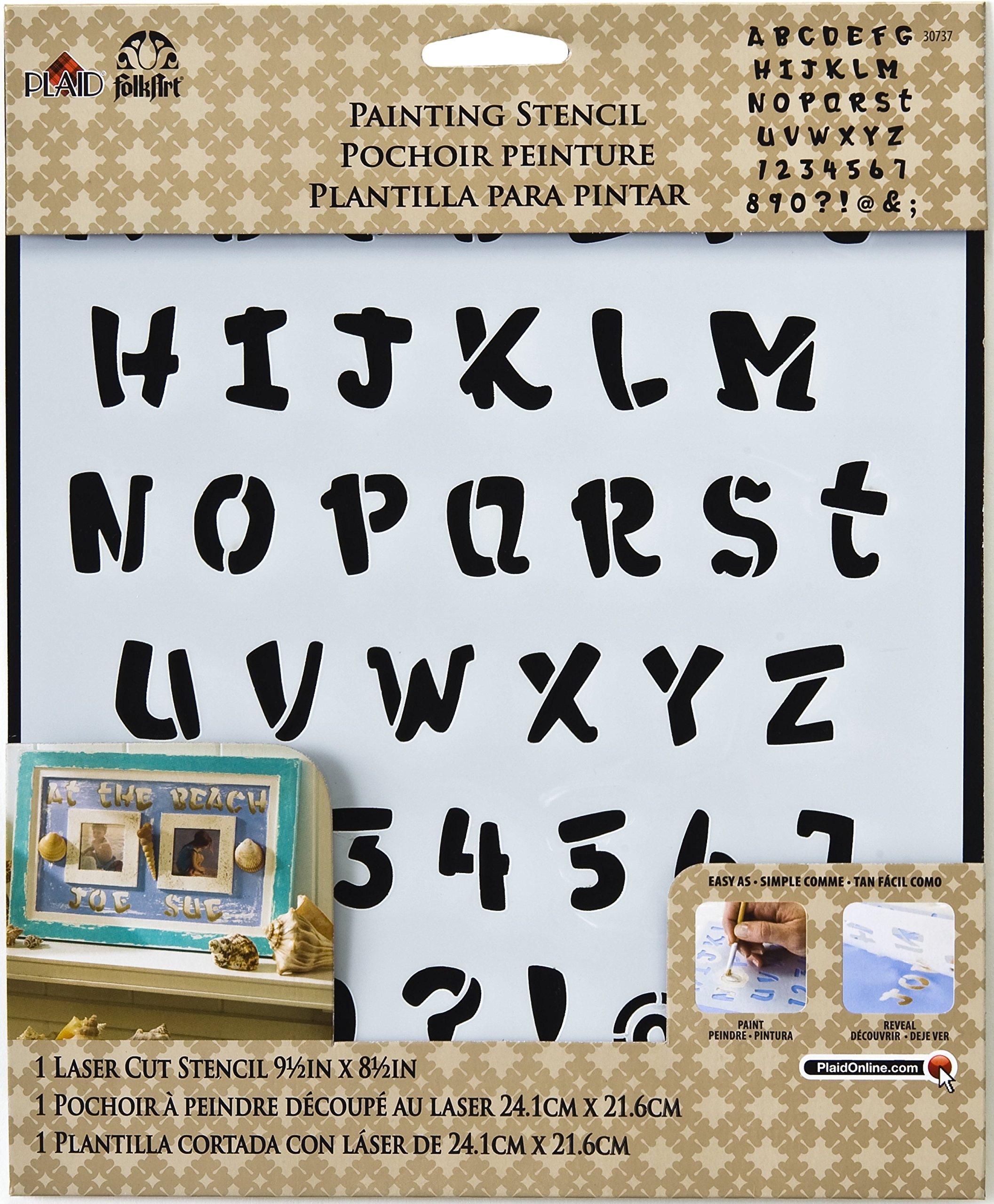 FolkArt Large Painting Stencil, 30737 Heavy Marker Alphabet