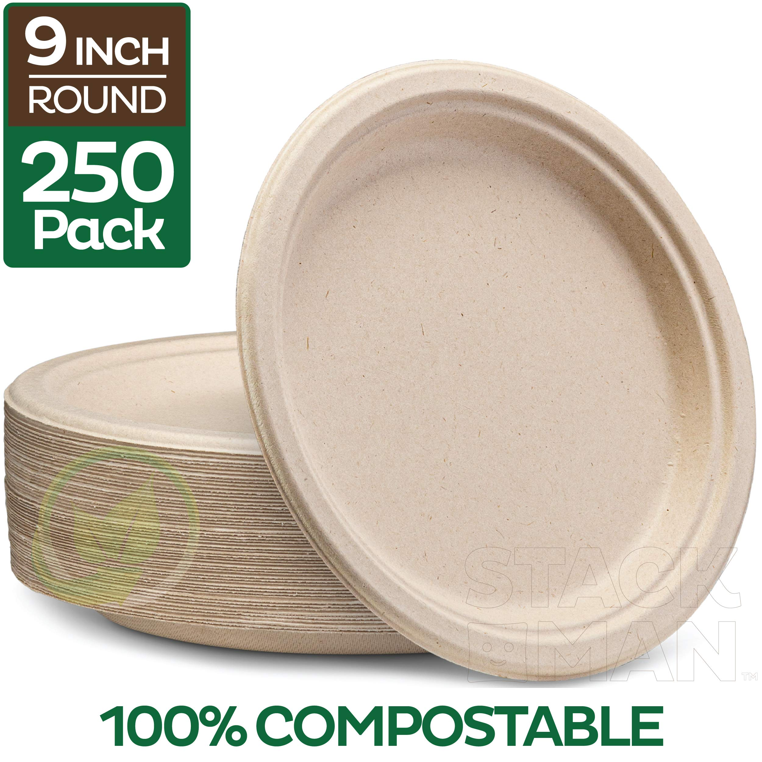 """100% Compostable 9"""" Paper Plates [250-Pack] Heavy-Duty Quality Natural Disposable Bagasse Plate, Eco-Friendly Made of Sugar Cane Fibers"""