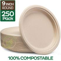 "100% Compostable 9"" Paper Plates [250-Pack] Heavy-Duty Quality Natural Disposable Bagasse Plate, Eco-Friendly Made of Sugar Cane Fibers"