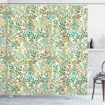 """Lunarable Cream Shower Curtain, Colorful Exotic Plants Seaweed Corals Abstract Tropics Foliage Ornate, Cloth Fabric Bathroom Decor Set with Hooks, 75"""" Long, Turquoise Orange"""
