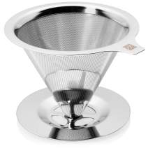 Pour Over Coffee Dripper - Non-Clogging Ultra Fine Double Layer Pour Over Coffee Maker - 304 Stainless Steel Coffee Filter - Paperless and Reusable - Eco Friendly and Cost Saving