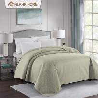 ALPHA HOME Bed Quilt Bedspread and Coverlet, King Size, Camel
