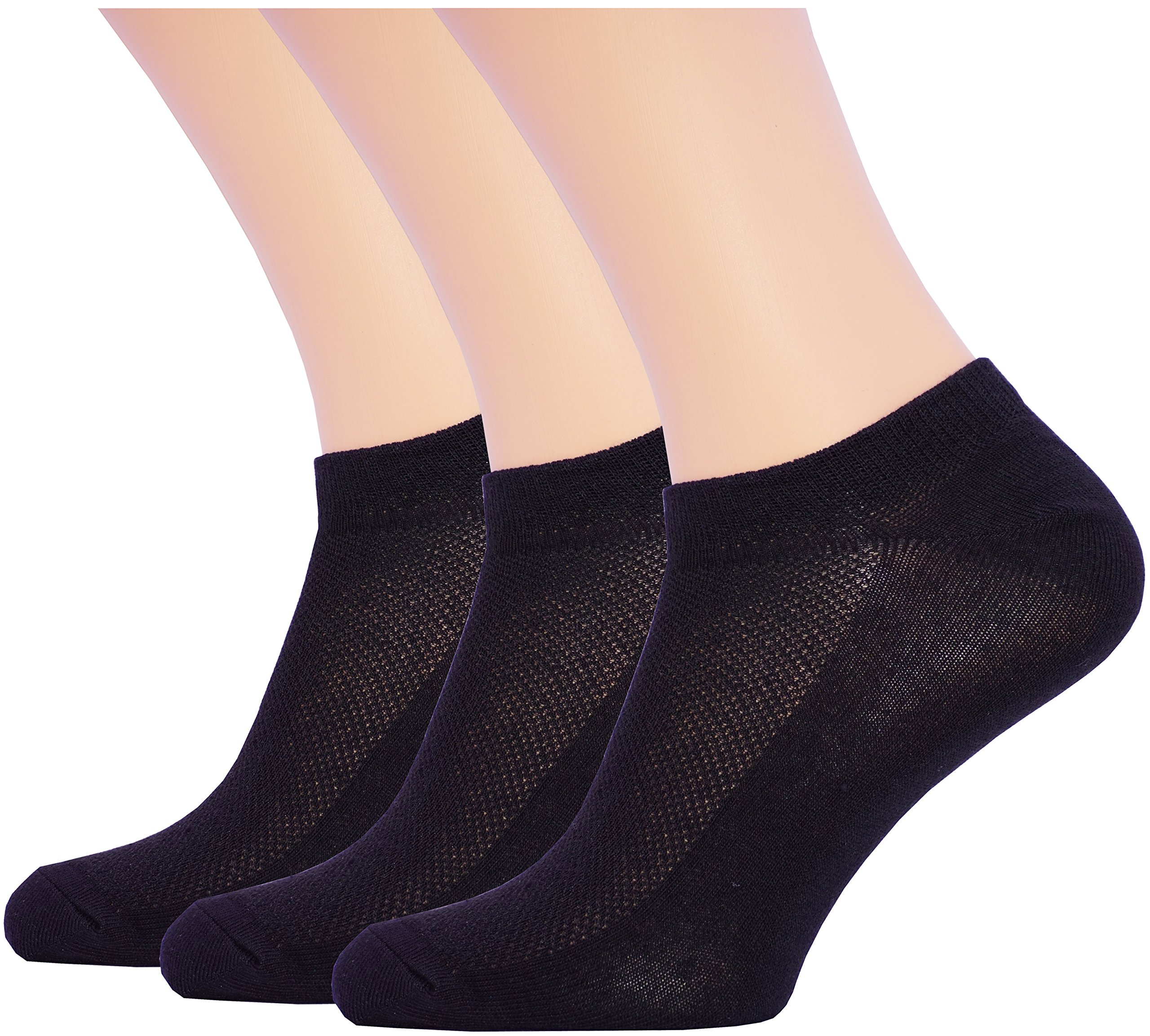 3 Pack Unisex Ultra Thin Breathable Dry Fit Low Cut Running Ankle Socks black color