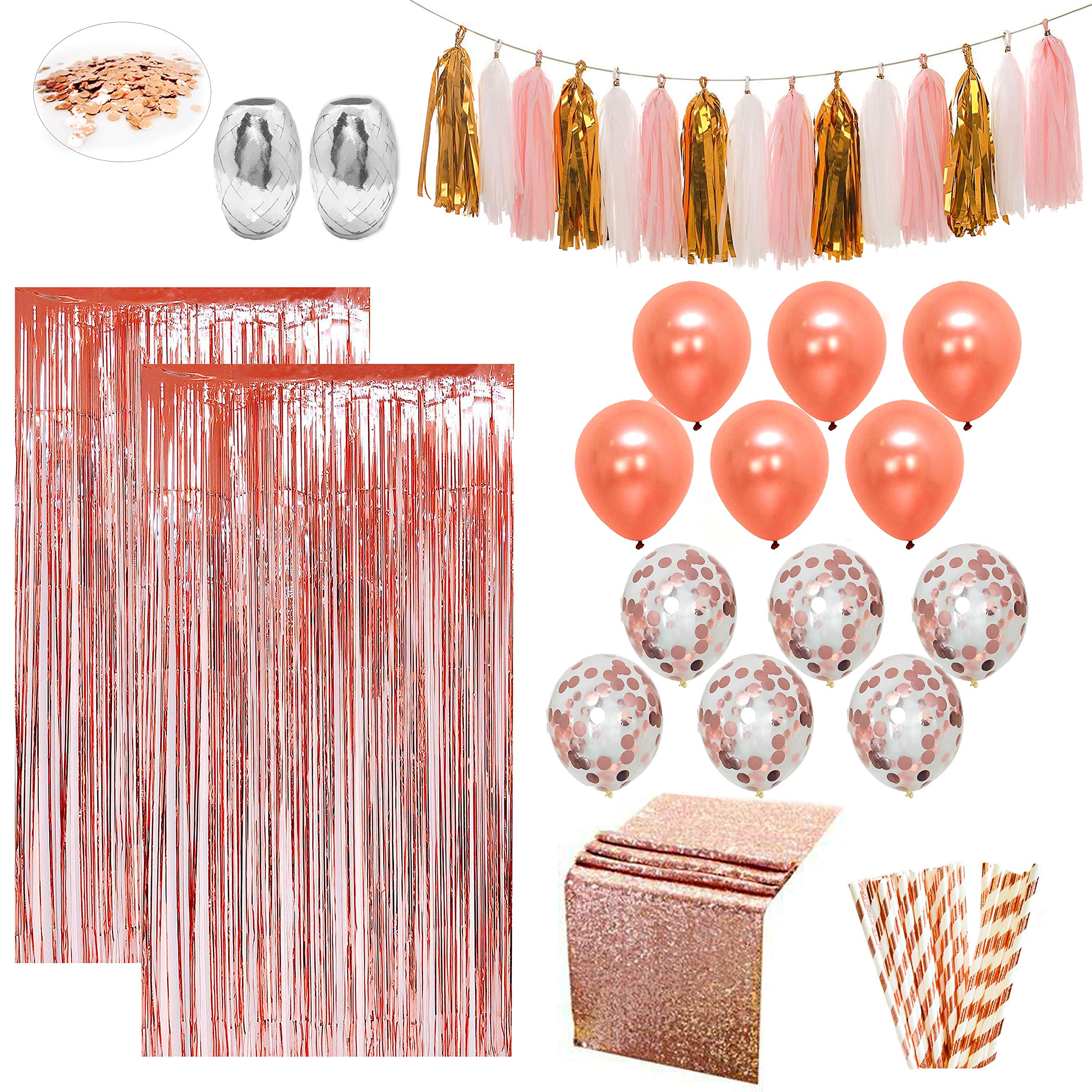 Rose Gold Party Decorations by Serene Selection, for Birthday Decoration Kit, Bridal Shower, Baby Shower Wedding Graduation Decor Set, Bachelorette Supplies, Balloons, Rose Gold Curtains