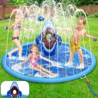"tomser 70""Larger Splash Pad, Inflatable Shark Water Play Mat with Sandbags Fun Game Kids Sprinklers for Learning Children's Sprinkler Pool for Backyard Garden Outdoor Party"