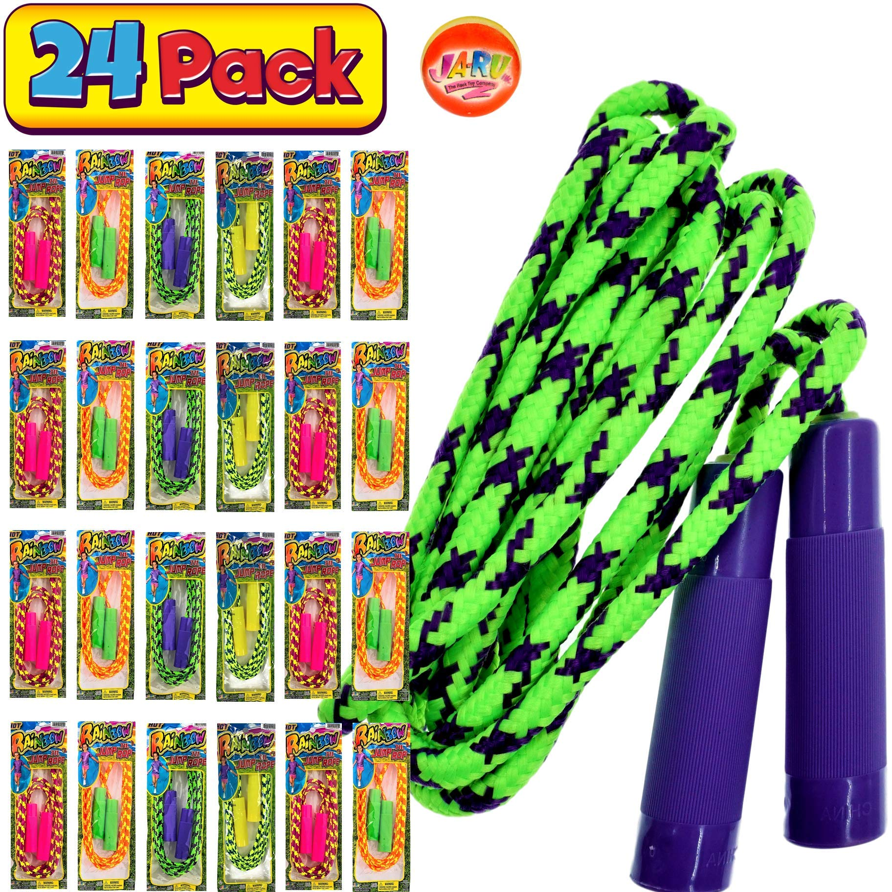 JA-RU Kids Jump Rope 7ft (Pack of 24 Jump Ropes in Bulk) Assorted Colors Jump Ropes for Boys Girls Kids and Adults Great Party Favors Toy Kids Outdoor Activities. Plus 1 Bouncy Ball 1995-24p
