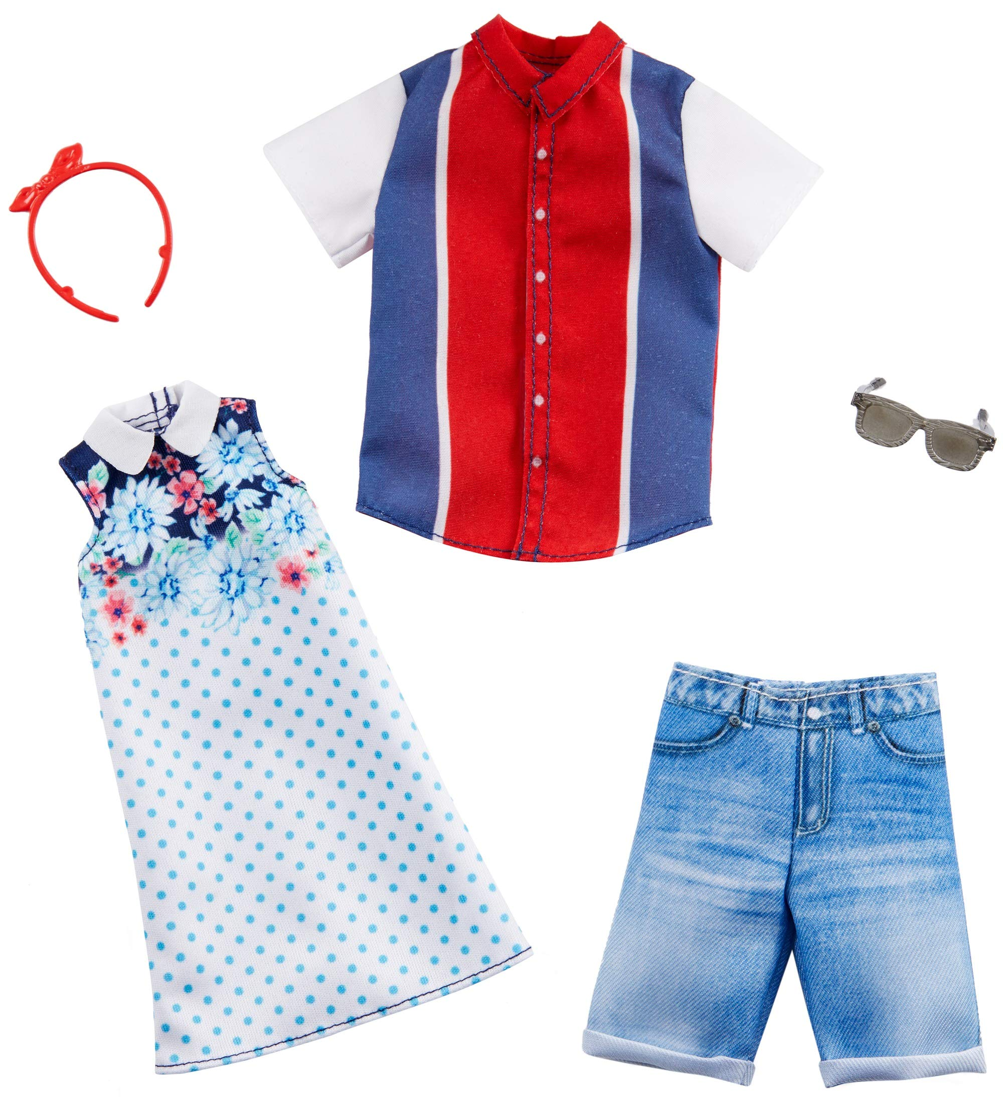 Barbie Fashion Pack with 1 Outfit of Floral Patterned Dress & 1 Accessory Doll & Striped Shirt, Shorts & Accessory for Ken Doll, Gift for 3 to 8 Year Olds