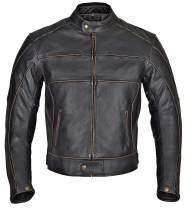 WICKED STOCK Blackguard Men Motorcycle Armor Leather Jacket Vintage Style Charcoal Dark Brown MBJ024 (3XL)