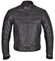 WICKED STOCK Blackguard Men Motorcycle Armor Leather Jacket Vintage Style Charcoal Dark Brown MBJ024 (XL)
