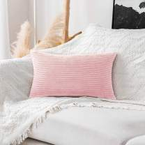 Home Brilliant Decor Decorative Pillow Covers Striped Corduroy Solid Oblong Pillowcases for Sofa Kids Toddler, 12 x 20, Pastel Pink