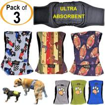 FunnyDogClothes Pack of 3 or 6 Male Dog Diapers 4 - Layers of Absorbent Pads Waterproof Leak Proof Belly Band Wrap Washable