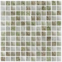 MTO0066 Contemporary Squares Green Gray Frosted Glass Mosaic Tile