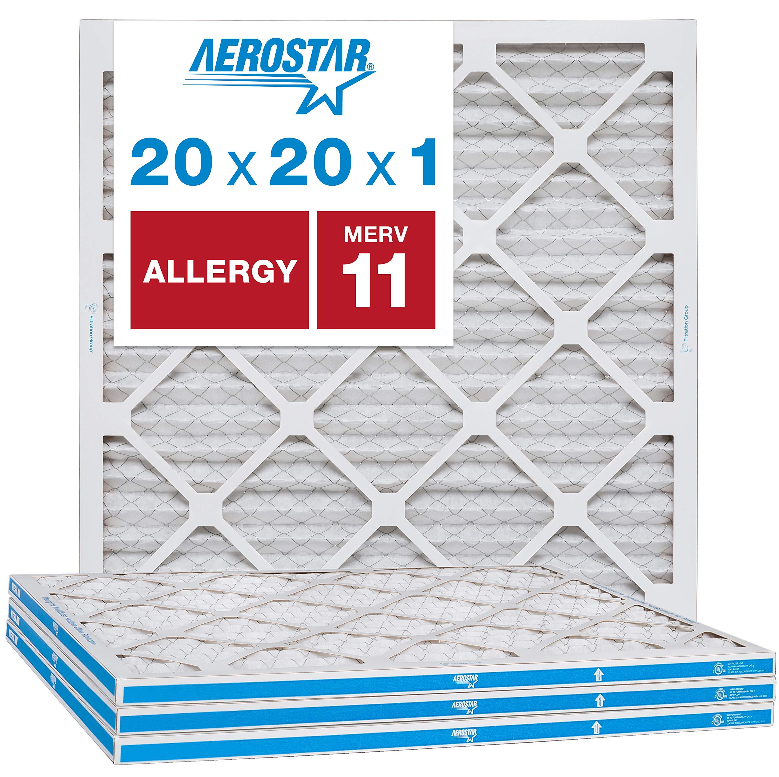 """Aerostar Allergen & Pet Dander 20x20x1 MERV 11 Pleated Air Filter, Made in The USA, (Actual Size: 19 3/4""""x19 3/4""""x3/4""""), 4-Pack"""