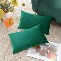 COMFORTLAND New Year/Christmas Decorative Pillow Covers 12x20 Green: 2 Pack Cozy Soft Velvet Rectangular Throw Pillow Cases for Farmhouse Sofa Couch Bed Chair Home Decor Decorations