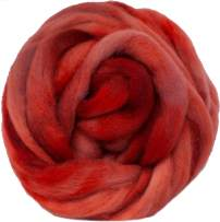 Wool Roving Hand Dyed. Super Soft BFL Combed Top Pre-Drafted for Easy Hand Spinning. Artisanal Craft Fiber ideal for Felting, Weaving, Wall Hangings and Embellishments. 4 Ounce. Egyptian Red