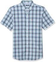 IZOD Men's Breeze Short Sleeve Button Down Plaid Shirt