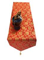 Vireo Silk Jacquard Red Colour size14x72 inch Table Runner 1 pc