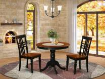 3 Pc Kitchen Table set with a Table and 2 Dining Chairs in Black and Cherry