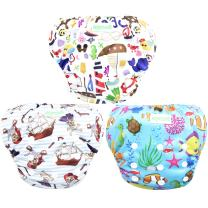 Wegreeco Baby & Toddler Snap One Size Adjustable Reusable Baby Swim Diaper (Sealife,Small,3 Pack)