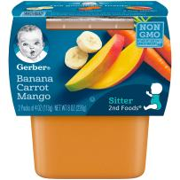 Gerber 2nd Foods Banana, Carrot & Mango Pureed Baby Food, 4 Ounce Tubs, 2 Count (Pack of 8)