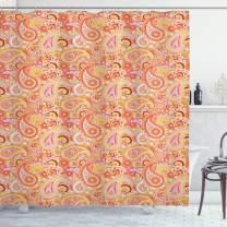 "Ambesonne Orange Shower Curtain, Design Elements Traditional Paisley Floral Pattern Swirls Leaves Motif, Cloth Fabric Bathroom Decor Set with Hooks, 70"" Long, Orange"