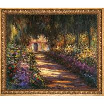 """overstockArt Pathway Garden at Giverny by Claude Monet Hand Painted Oil on Canvas with Versailles Gold Frame, 27.5"""" x 23.5"""", Multi-Color"""