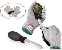Rockland Guard Oyster Shucking Kit - High Performance Level 5 Protection Food Grade Cut Resistant Gloves with 3.5'' Stainless steel Oyster Knife, perfect set for shucking oysters (Small)