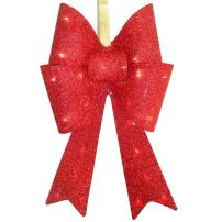 National Tree 20 Inch Red Tinsel Bow with 13 Warm White LED Lights (MZBO-20RL-B1)
