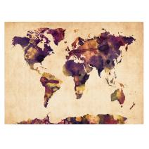 Watercolor Map 2 by Michael Tompsett work, 22 by 32-Inch Canvas Wall Art