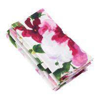 "SARO LIFESTYLE Watercolor Floral Design Square Linen Napkin, Set of 4 20"" Multicolor"
