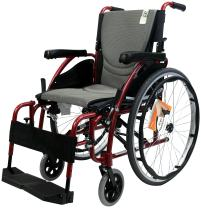 "Karman Ergonomic Wheelchair in 16"" Seat, Red Frame and Silver Cushion"