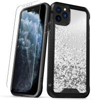 ZIZO ION Series for iPhone 11 Pro Case - Military Grade Drop Tested with Tempered Glass Screen Protector - Silver Liquid Glitter