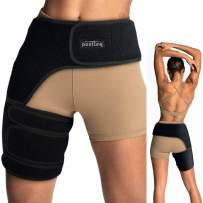 Vriksasana Groin Hip Brace   Sciatica Support Wrap   Hamstring Compression Sleeve for Men and Women for Pulled Quadriceps Thigh Muscle, Hip Flexor Strain, Bursitis and Arthritis (Right Leg)