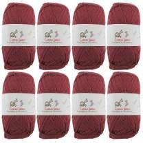 BambooMN Cotton Select Sport Weight Yarn - 100% Fine Cotton - 8 Skeins - Col 003 - Plum Raisin