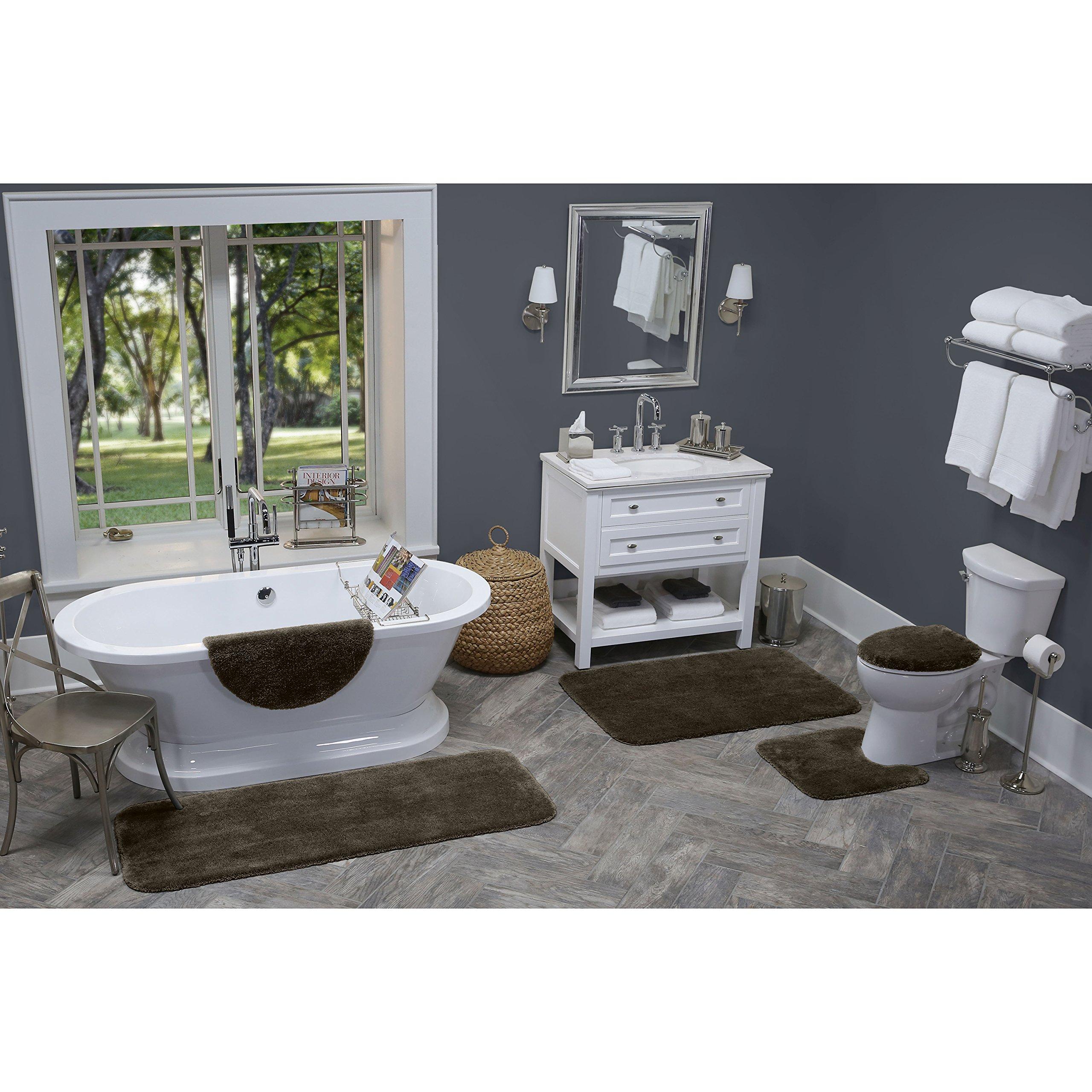 """Maples Rugs Cloud Bath 20"""" x 21.5"""" Contour Non Slip Toilet Rug [Made in USA] Machine Washable Soft Bath Mat, Chocolate Nib"""