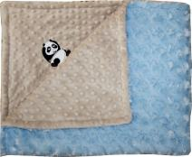 Lil' Cub Hub Minky Blanket, Mocha Dot/Blue Rosebud, Panda