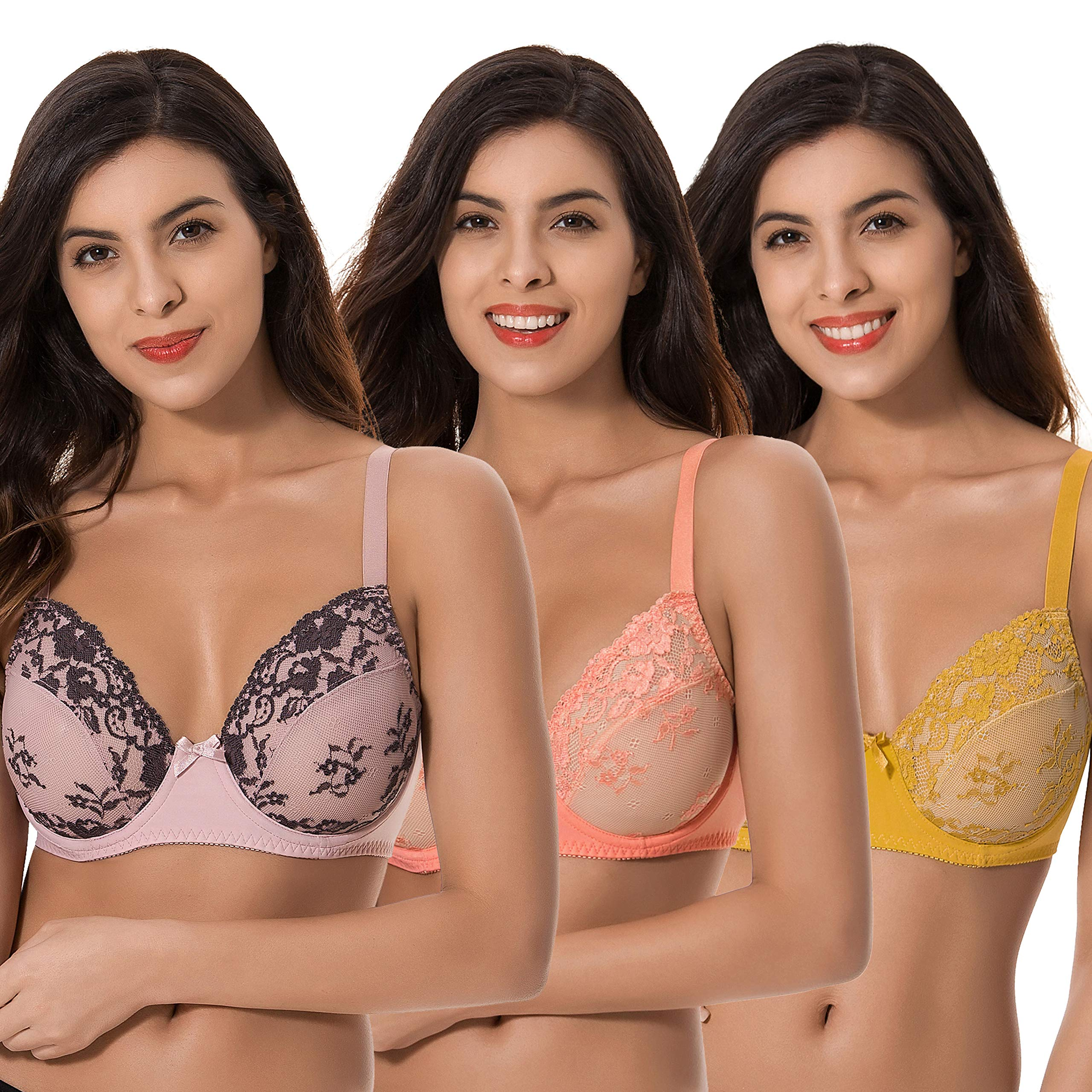 Curve Muse 3 Pack Plus Size Unlined Semi-Sheer Balconette Underwire Lace Bra
