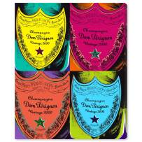 """The Oliver Gal Artist Co. Drinks and Spirits Wall Art Canvas Prints 'Warholesque Dom P' Home Décor, 36"""" x 42"""", Red, Yellow"""