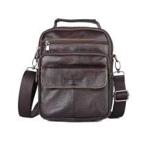 Men Leather Messenger Bag Water Resistant Shoulder Crossbody Bags for Travel Work Business