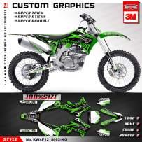 Kungfu Graphics Custom Decal Kit for Kawasaki KX450F 2013 2014 2015, White Black Green,KW4F1215003-KO