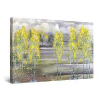 """Startonight Canvas Wall Art Abstract - Yellow Trees and Gray Landscape Painting - Large Framed 32"""" x 48"""""""
