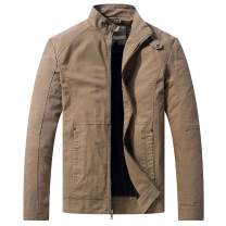 WenVen Men's Casual Slim Fit Coat Cotton Full Zip Military Work Outerwear Jacket