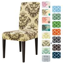 subrtex Printed Dining Chair Slipcovers Stretch Removable Washable Elastic Parsons Chair Seat Covers for Dining Room Kitchen (4,Coffee)