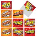 10 Assorted Word Bursts Thank You Note Cards with Envelopes - All Occasion Cards with Comic Book Style Encouraging Words - Stationery for Baby Showers, Birthdays, Holidays (4 x 5.12 Inch) M3033