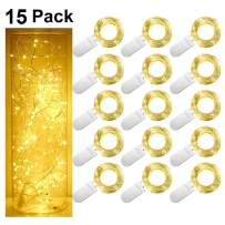 SmilingTown Starry Fairy String Lights LED Firefly Silver Color Wire Lights 15 Pack 20 LED 7.2FT Battery Powered Lights for DIY Wedding Party Jar Centerpiece Christmas Decorations (Warm White)