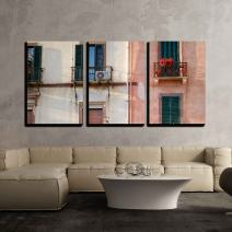 "wall26 - 3 Piece Canvas Wall Art - Nice Mediterranean House Facades in Modern Home Art Stretched and Framed Ready to Hang - 24""x36""x3 Panels"