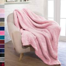 PAVILIA Plush Sherpa Throw Blanket for Couch Sofa | Fluffy Microfiber Fleece Throw | Soft, Fuzzy, Cozy, Shaggy, Lightweight | Solid Light Pink Blanket | 50 x 60 Inches