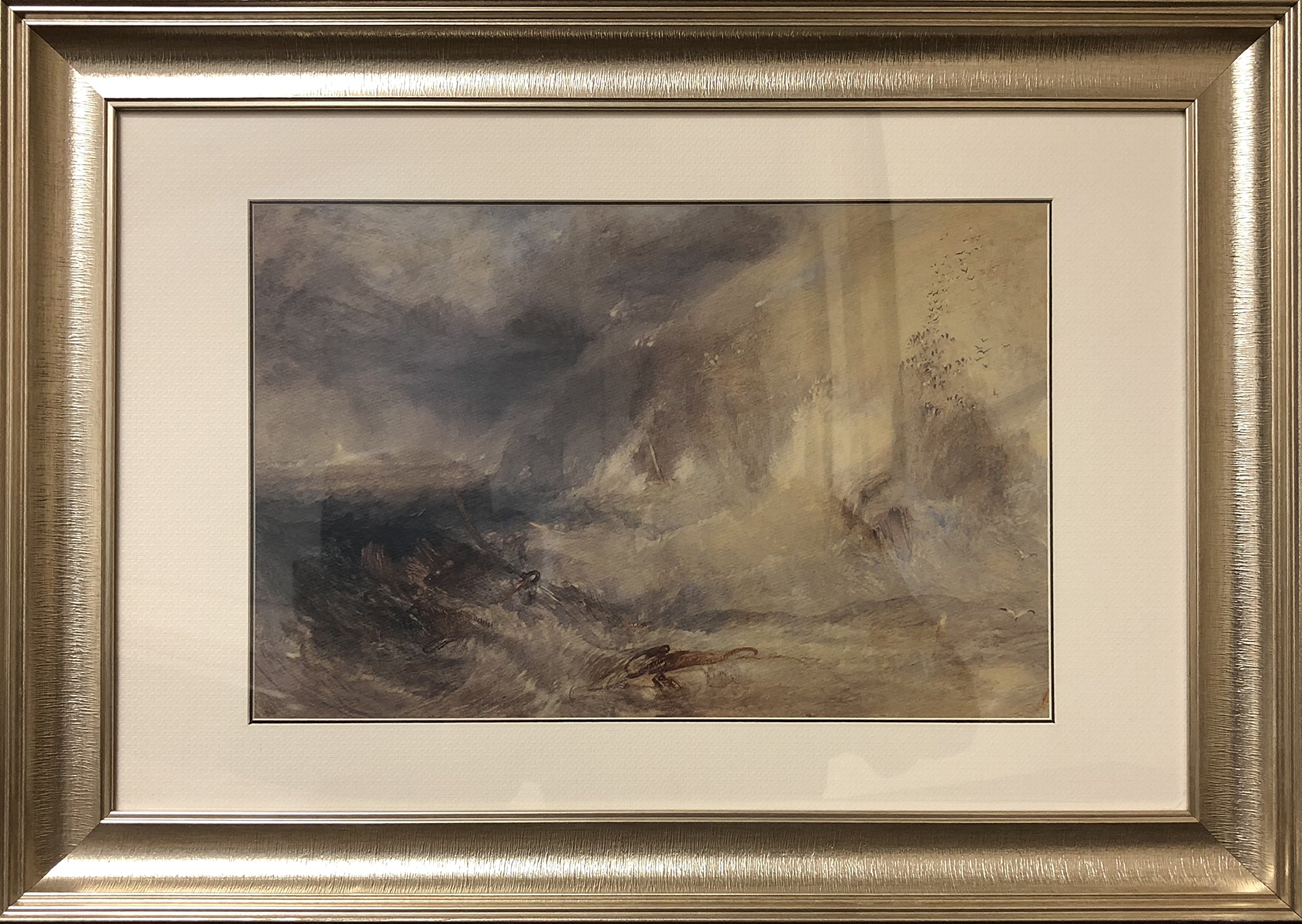 """Long Ship's Lighthouse, Land's End by J. M. W, Oil Painting Print on Museum Quality Paper, with Victorian Gold Frame, Size 20"""" x 27"""", Framed Painting Ready to Hang on Wall"""