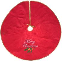 """Clever Creations Merry Christmas Embroidered Tree Skirt Red and Gold 