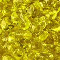Sunflower Yellow - Fire Glass Dots for Indoor and Outdoor Fire Pits or Fireplaces | 10 Pounds | 3/8 Inch